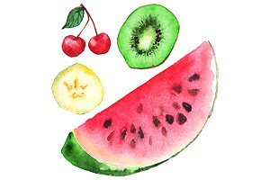 Watercolor fruit berry set vector
