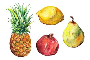 Watercolor exotic fruit set isolated