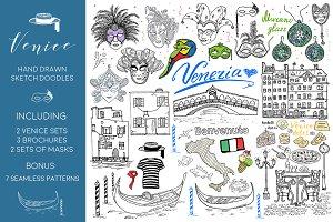 Venice sketch doodle set +  patterns