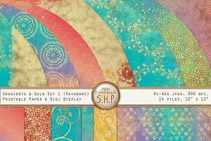 Rainbow Gradient & Gold Art Papers