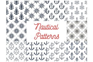Nautical anchor, helm, compass seamless patterns