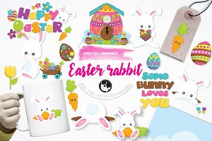 Easter rabbit illustration pack