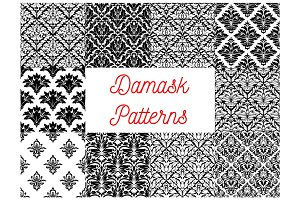 Damask seamless patterns of victorian flourishes