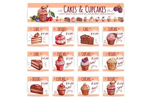 Cake menu template for bakery, pastry shop design