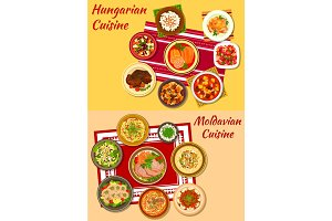 Hungarian and moldavian cuisine dishes icon