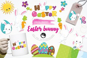 Easter bunny illustration pack