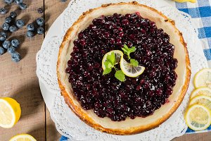 Fresh blueberry lemon cheesecake