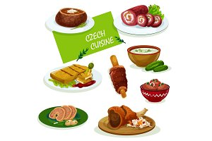 Czech cuisine dinner dishes cartoon menu design