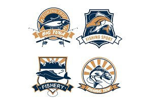 Fishing sport and fisher club vector icons set