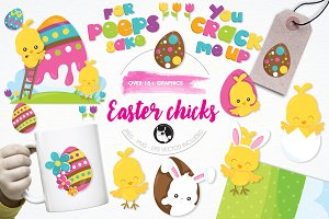 Easter chicks illustration pack