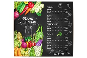 Vegetarian menu of vegetables vector sketch