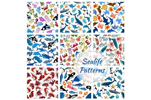 Sealife seamless vector pattern of cartoon fish