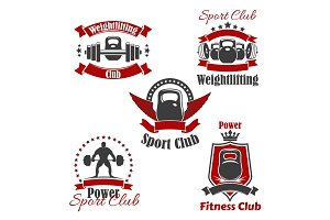 Weightlifting sport club or gym vector icons set