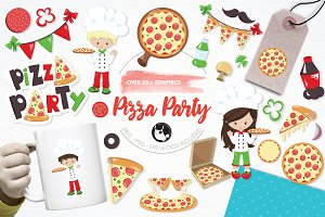 Pizza party illustration pack