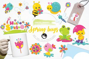 Spring bugs illustration pack