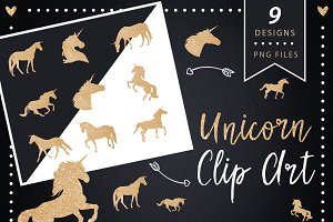 Gold glitter unicorn clip art