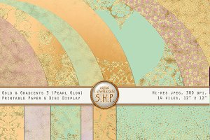 Pearly Pastel & Gold Gradient Papers