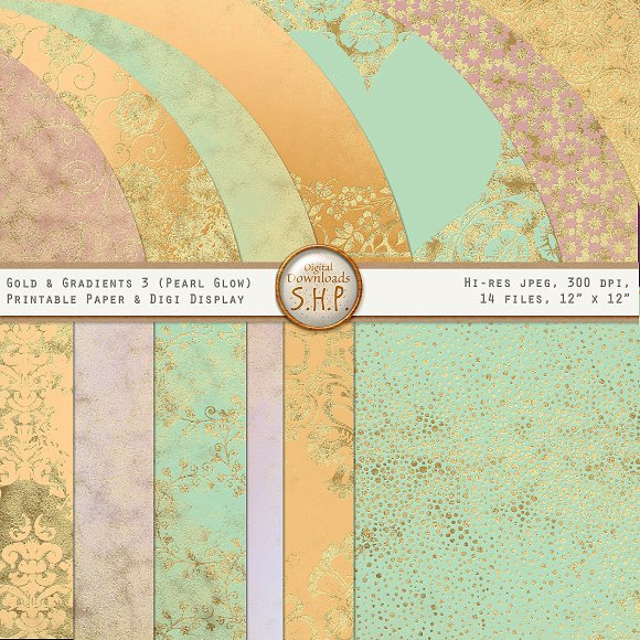 Pearly Pastel Gold Gradient Papers