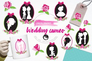 Wedding cameo illustration pack