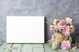 Carnation flowers and canvas frame