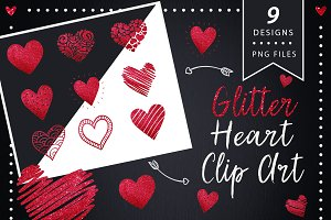 Red Glitter Heart Clip Art