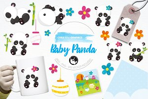 Baby panda illustration pack