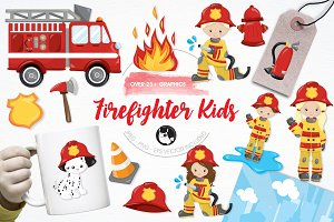 Firefighter kids illustration pack