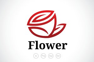 Fallen Rose Flower Logo Template