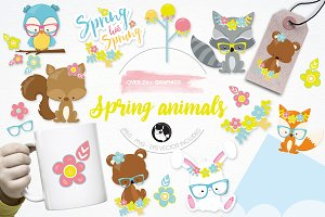 Spring animals illustration pack