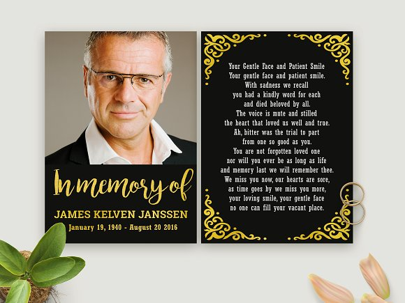 Black And Gold In Memorian Card