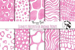Seamless Watercolor Animal Prints bg