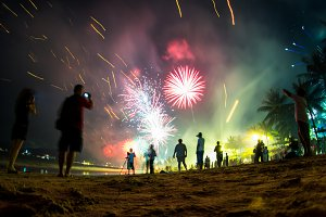 Colorful fireworks on the beach