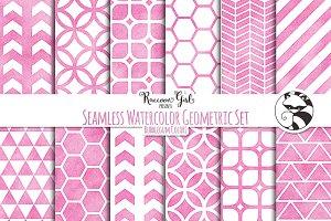 Seamless Watercolor Geometrics bg