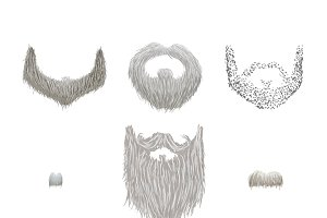 Set of gray mustaches and beards