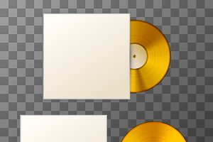 Blank golden album vinyl disc