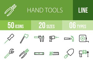 50 Hand Tools Green & Black Icons