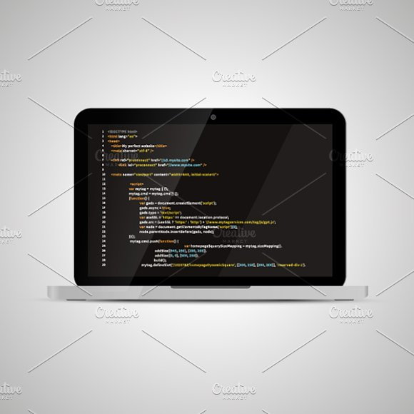 Laptop with simple website HTML code