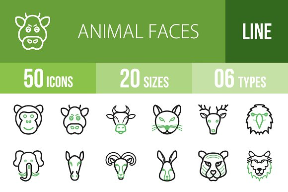 50 Animal Faces Green Black Icons
