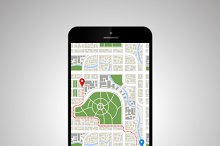 Smartphone with detailed map of city