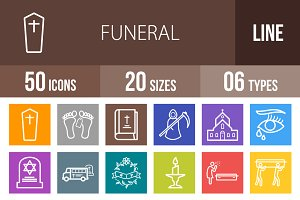 50 Funeral Line Multicolor Icons