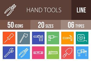 50 Hand Tools Line Multicolor Icons