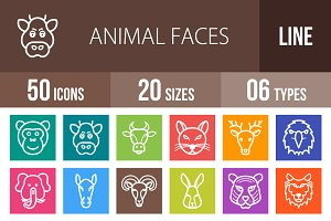 50 Animal Face Line Multicolor Icons