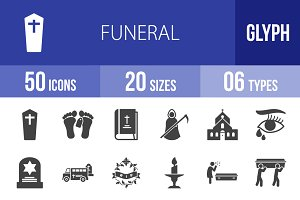 50 Funeral Glyph Icons