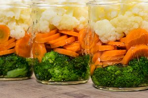 Jars of vegetable salad