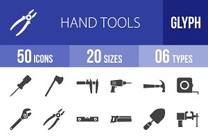 50 Hand Tools Glyph Icons