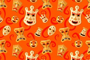 Wooden voodoo masks pattern