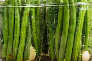 Green beans in glass jars