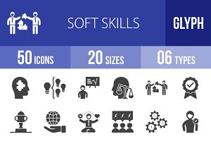 50 Soft Skills Glyph Icons