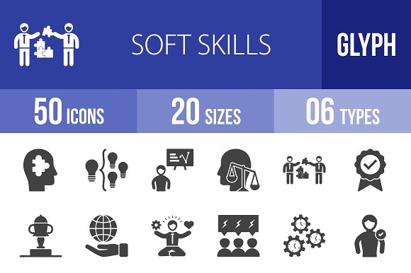 50 soft skills glyph icons icons creative market - Icons For Resume