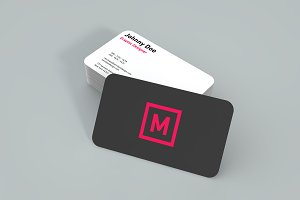 Rounded Twoside Business Card Mockup